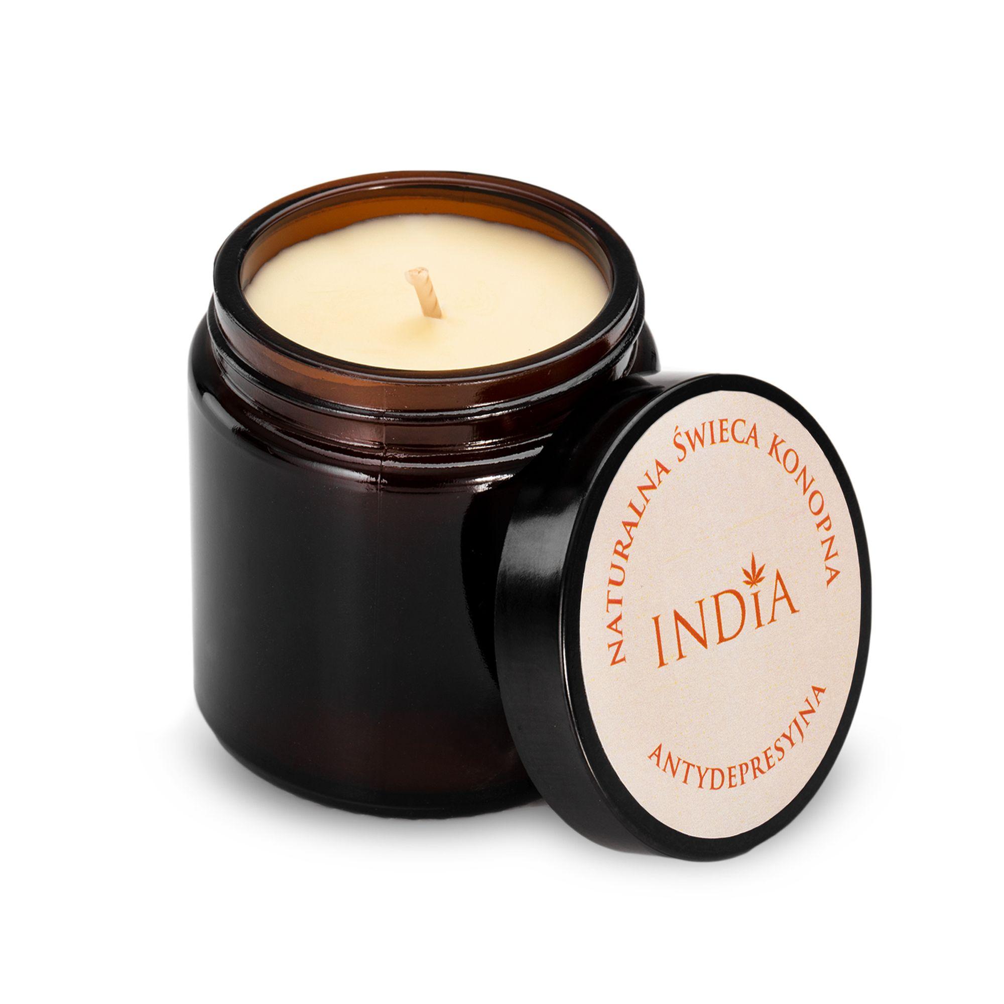 Hanf-Kerze 'Antidepressivum' mit Hanf-Öl von India Cosmetics